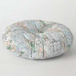 New York watercolor Floor Pillow