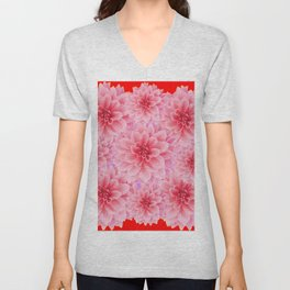 PINK DAHLIA FLOWERS IN RED COLOR ART Unisex V-Neck