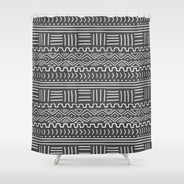 Mud Cloth on Gray Shower Curtain