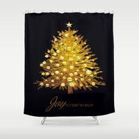christmas tree Shower Curtains featuring Christmas tree by valzart