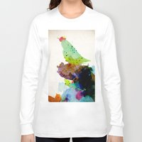 contemporary Long Sleeve T-shirts featuring Bird standing on a tree by contemporary