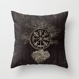 Vegvisir  and Tree of life  -Yggdrasil Throw Pillow