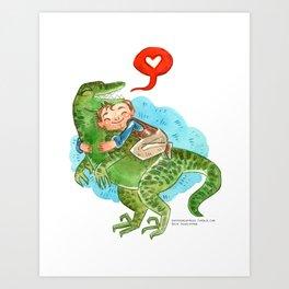 Jurassic World Hug Art Print
