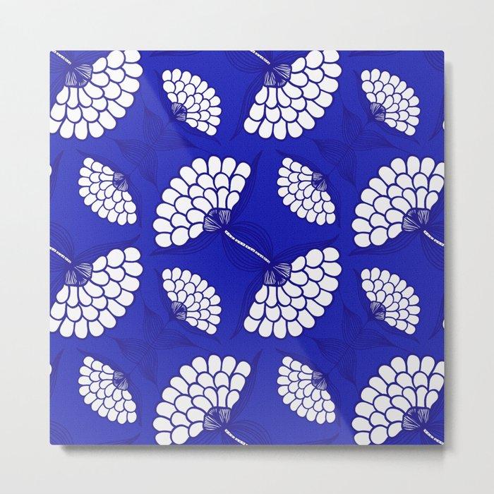 African Floral Motif on Royal Blue Metal Print