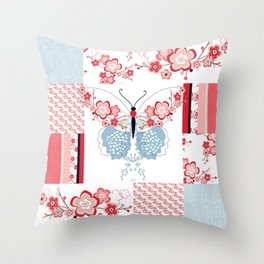 Cherry Blossom Butterfly Collection Throw Pillow