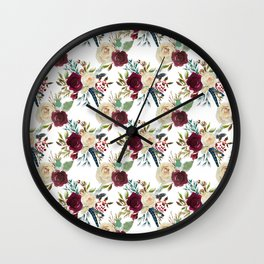 Burgundy ivory green watercolor boho floral pattern Wall Clock