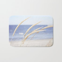 Beach Grass Blue Photography, Coastal Ocean Landscape, Sea Seashore Seascape Shore Bath Mat