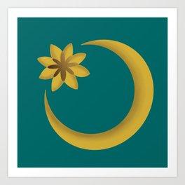 Crescent Bright Moon & Starburst Art Print