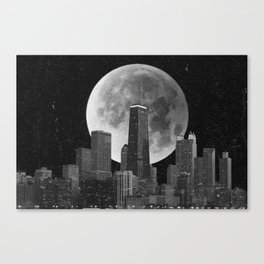 Full Moon Over Chicago Illinois Skyline Canvas Print