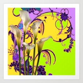 Fantasy Calla Lily Garden Gold-Lilac-Lime Color Designs Art Print