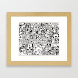 Ahegao Hentai Girls Collage B&W Comic Panels Framed Art Print
