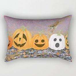 wood frogs, smiling pumpkins, & ghost clouds Rectangular Pillow