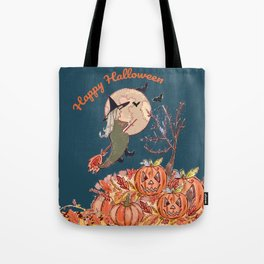 Witch On A Broomstick Tote Bag