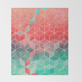 Rose And Turquoise Cubes Throw Blanket