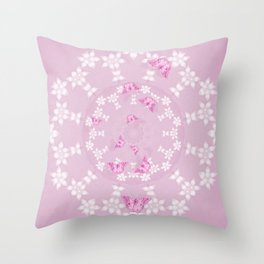 Pretty pink butterflies on flower mandala Throw Pillow