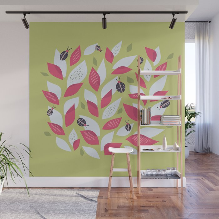 Pretty Plant With White Pink Leaves And Ladybugs Wall Mural