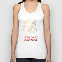 blackhawks Tank Tops featuring Madhouse Chicago Blackhawks by beejammerican