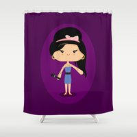 amy hamilton Shower Curtains featuring Amy by Sombras Blancas Art & Design