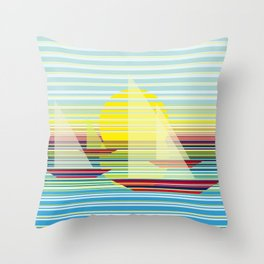 Sailing at sunrise Throw Pillow