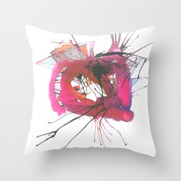 Strong pinky abstract color splash 8 Throw Pillow