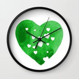 Green Hearts Wall Clock