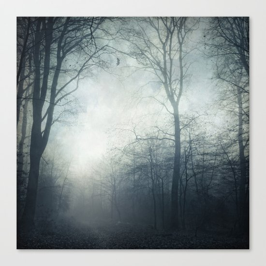Dark Path - Misty Forest in November Canvas Print