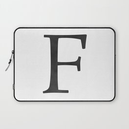 Letter F Initial Monogram Black and White Laptop Sleeve