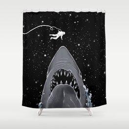 Astronaut Meet The Jaws Shower Curtain