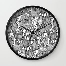 just chickens black white Wall Clock