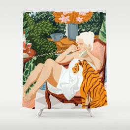 Gossip #illustration #painting Shower Curtain