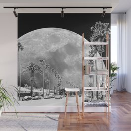 California Dream // Moon Black and White Palm Tree Fantasy Art Print Wall Mural