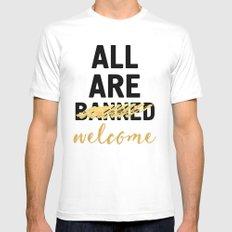 ALL ARE WELCOME - NOT BANNED White Mens Fitted Tee MEDIUM