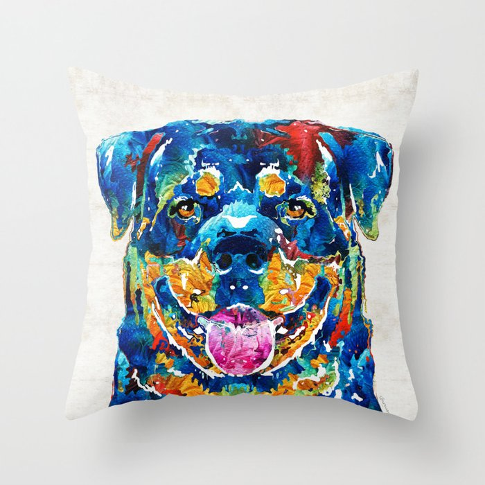 Colorful Rottie Art - Rottweiler by Sharon Cummings Throw Pillow