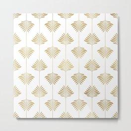 Gold leafs art-deco pattern Metal Print