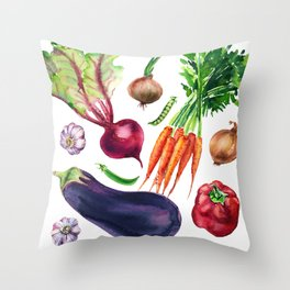 vegetables watercolor Throw Pillow