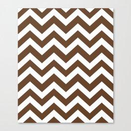 Van Dyke brown - brown color - Zigzag Chevron Pattern Canvas Print