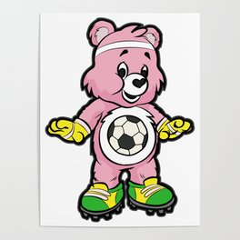 SOCCER Player TEDDY Bear Son Daughter Pit Cleats Poster