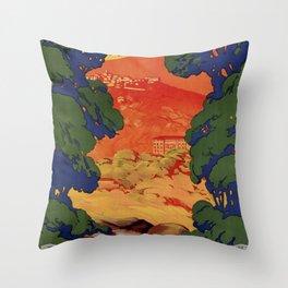 Vintage Italian travel Fiuggi springs Throw Pillow
