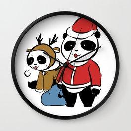 Panda claus Wall Clock