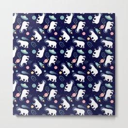 Polar Bears in Space Metal Print