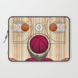 Colorful Pink basketballs on a Basketball Court Laptop Sleeve