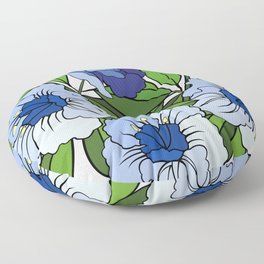 Branch of abstract blue flowers Floor Pillow