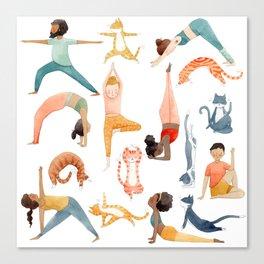 Yoga People & Cats Canvas Print