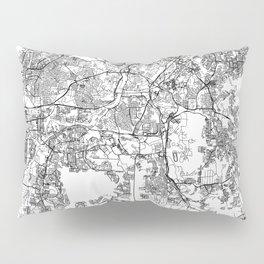 Kuala Lumpur White Map Pillow Sham