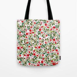 Christmas Floral Pattern Tote Bag