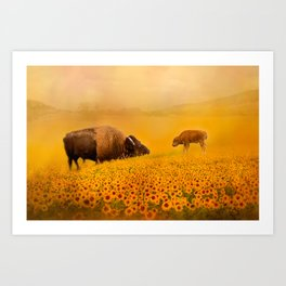 Bison Dad and Baby in Sunflowers Art Print