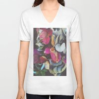hydrangea V-neck T-shirts featuring Fall Hydrangea by DuckyB