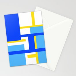 Rectangles - Blues, Yellow and White Stationery Cards