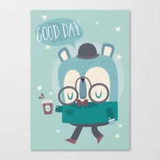 Snazzy Bear Says Good Day Canvas Print