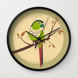 Green Cheek Conure Wall Clock